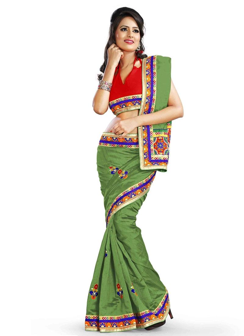 Urbane Resham Work Silk Party Wear Saree