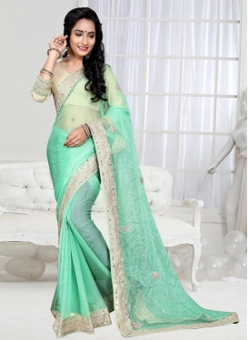 Urbane  Shimmer Georgette Booti Work Contemporary Style Saree