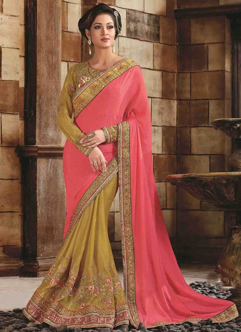 Urbane Silk Embroidery Work Half N Half Wedding Saree