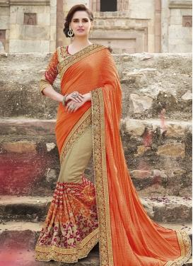 Vehemently Art Silk Beads Work Half N Half Wedding Saree