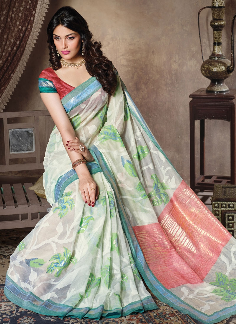 Vehemently Art Silk Off White Color Casual Saree