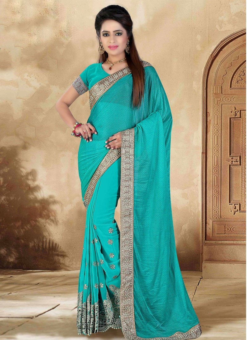 Vehemently Beads Work Lycra Designer Saree