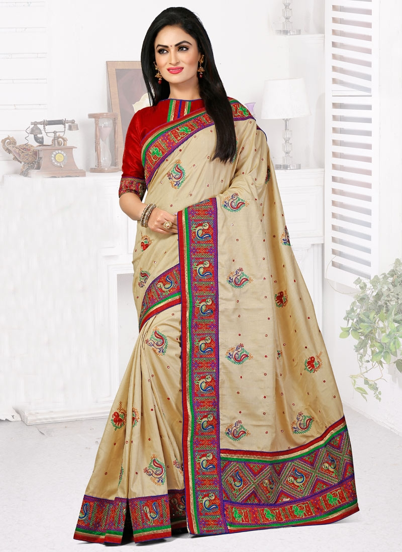 Vehemently Booti And Resham Work Wedding Saree