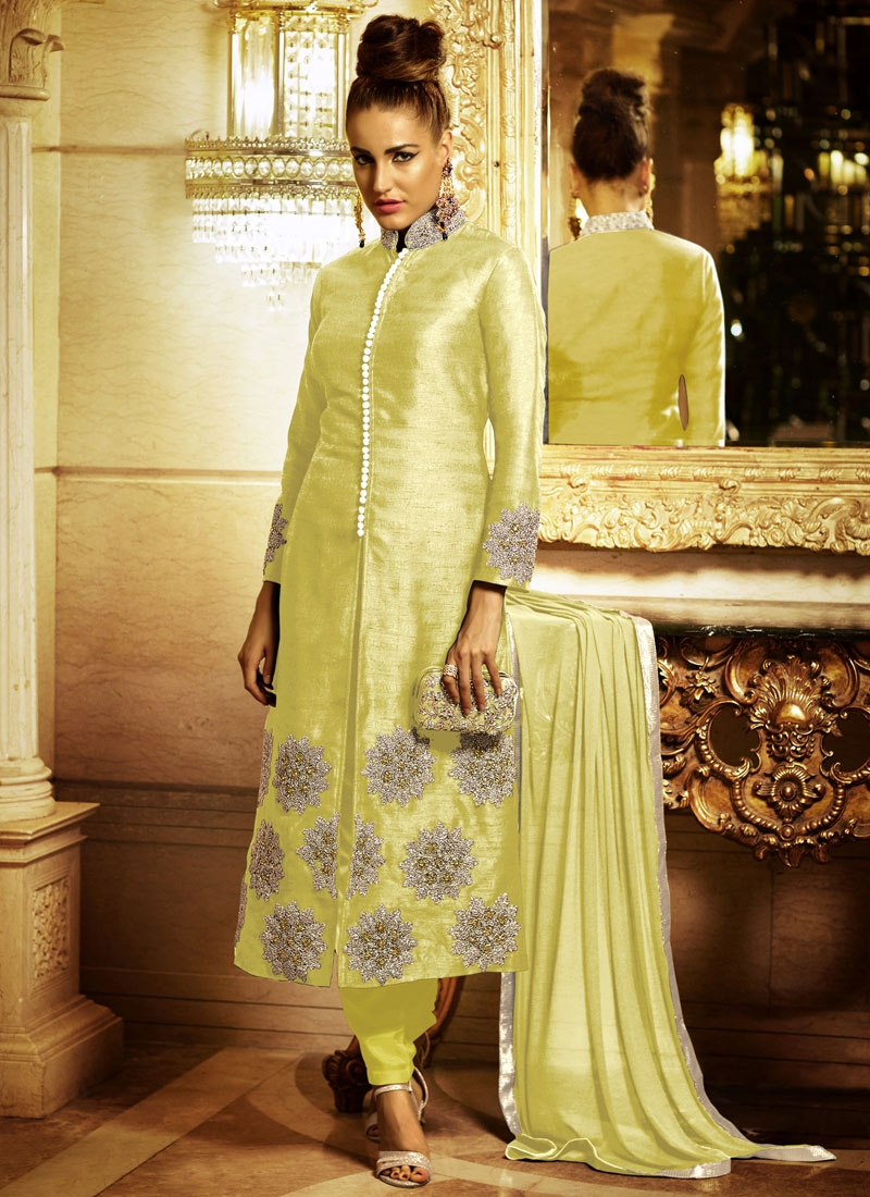 Vehemently Booti And Zari Work Pant Style Designer Salwar Kameez