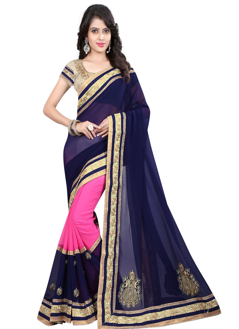 Vehemently Booti Work Navy Blue Color Party Wear Saree