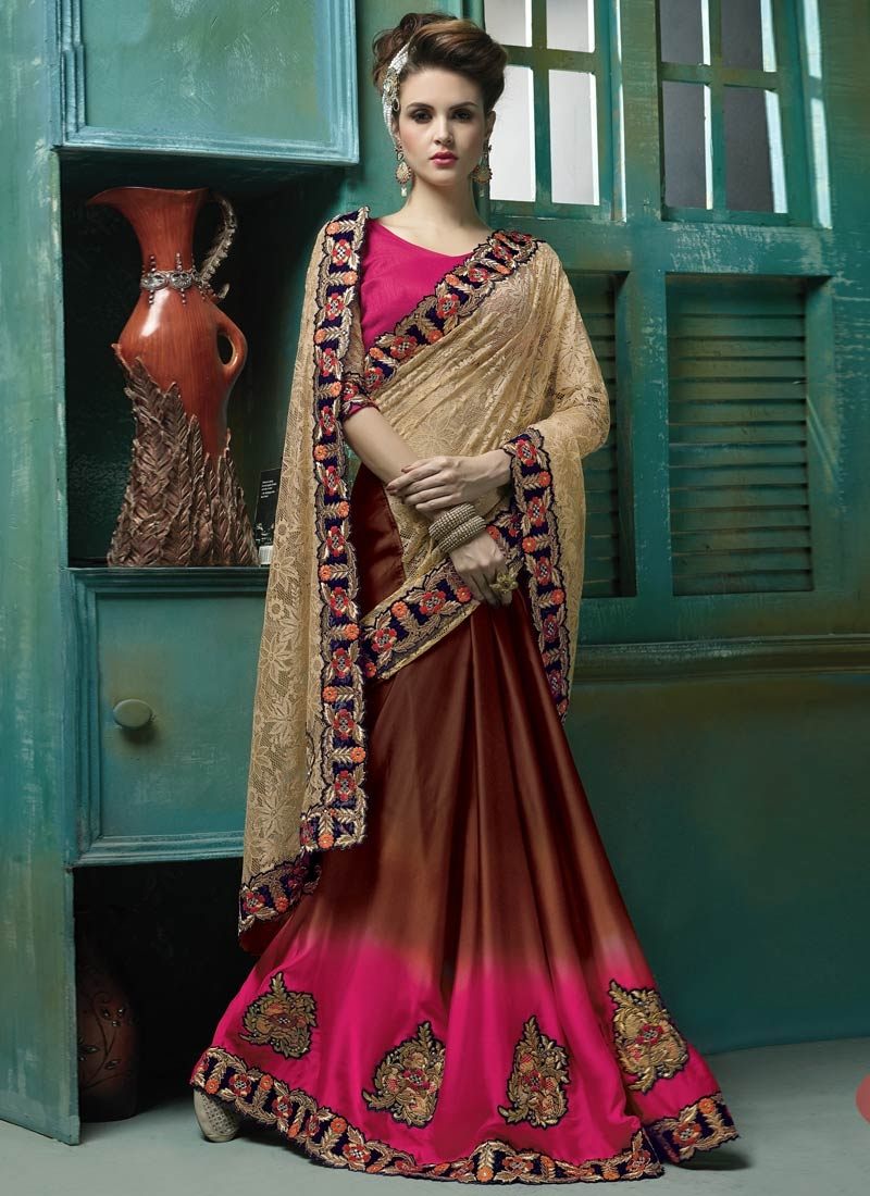 Vehemently Booti Work Net Half N Half Wedding Saree