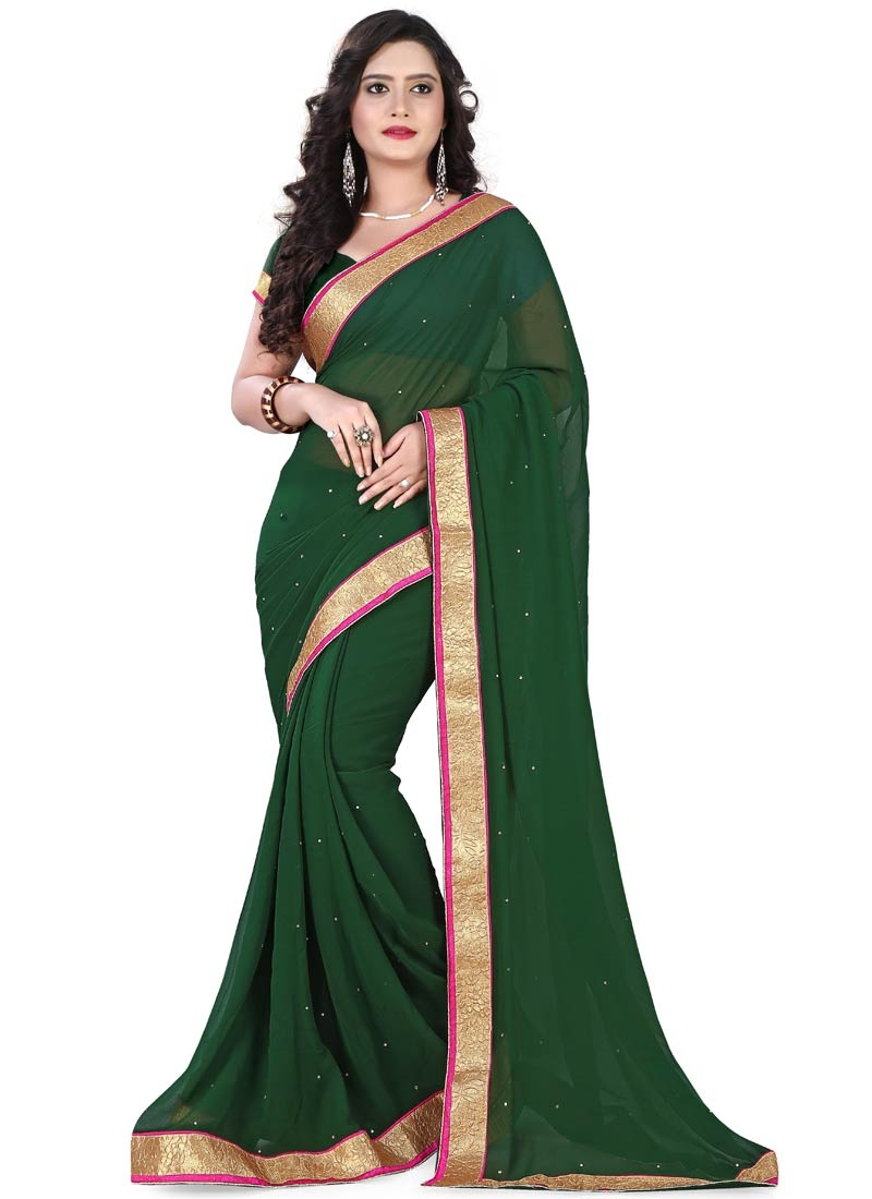 Vehemently Bottle Green Color Casual Saree