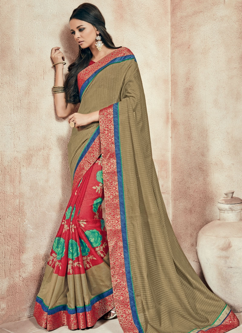 Vehemently Brown And Red Color Half N Half Party Wear Saree