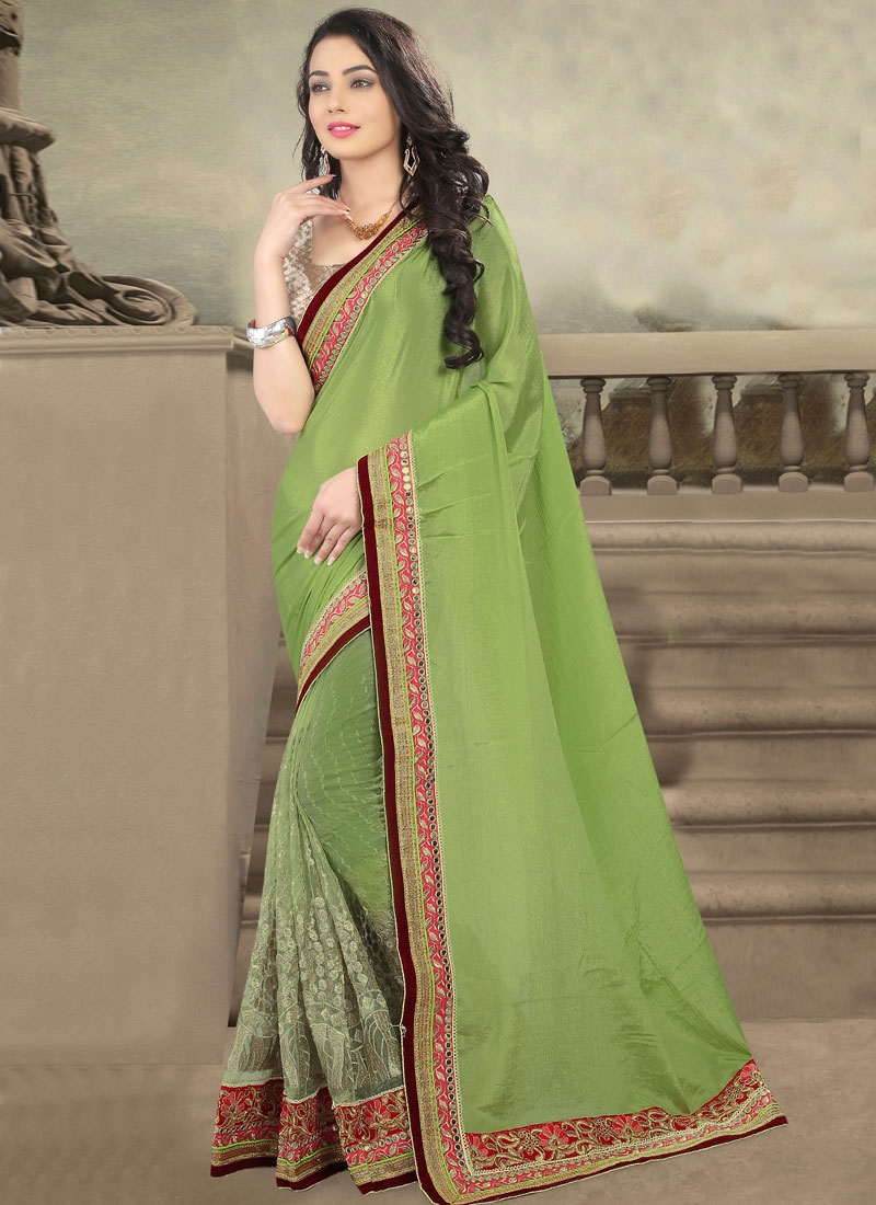 Vehemently Chiffon Satin And Net Half N Half Designer Saree
