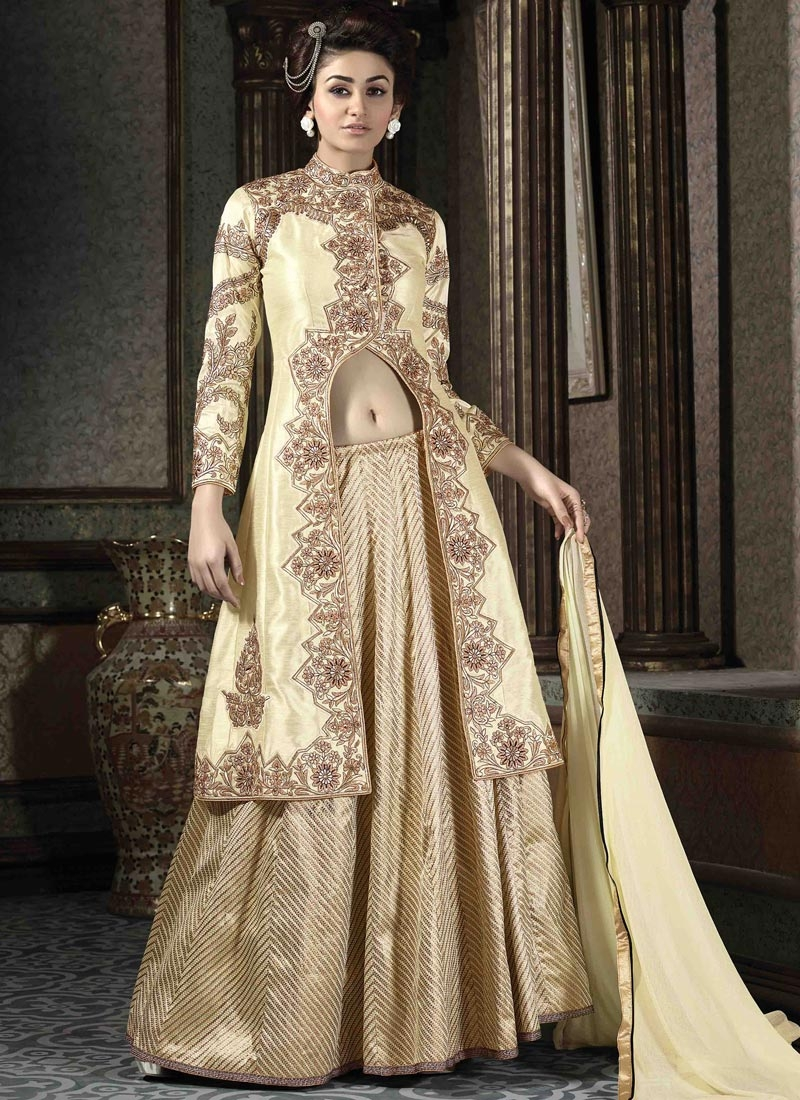 Vehemently Cream Color Banarasi Silk Designer Lehenga Choli