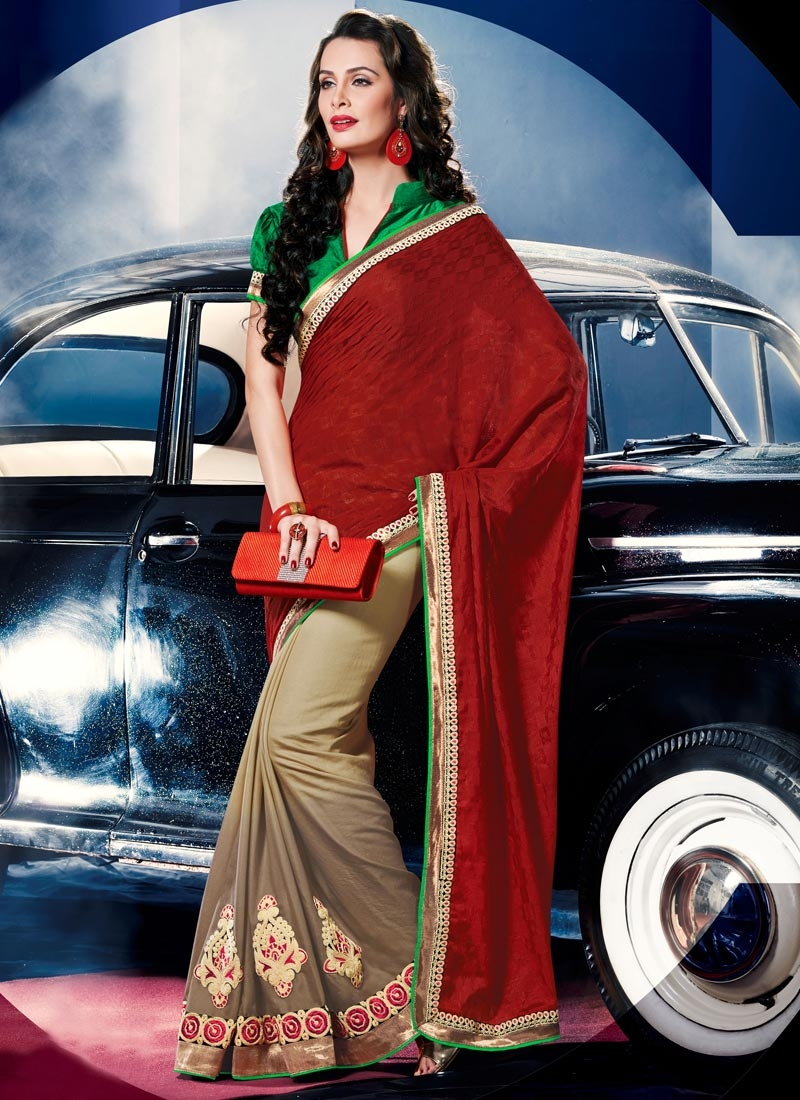 Vehemently Crimson Color Booti Work Half N Half Party Wear Saree