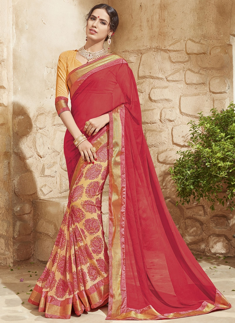 Vehemently Crimson Color Half N Half Party Wear Saree