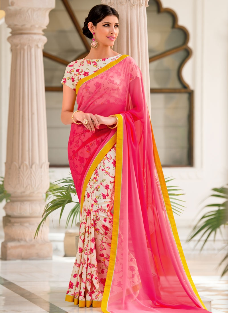 Vehemently Digital Print Work Half N Half Casual Saree
