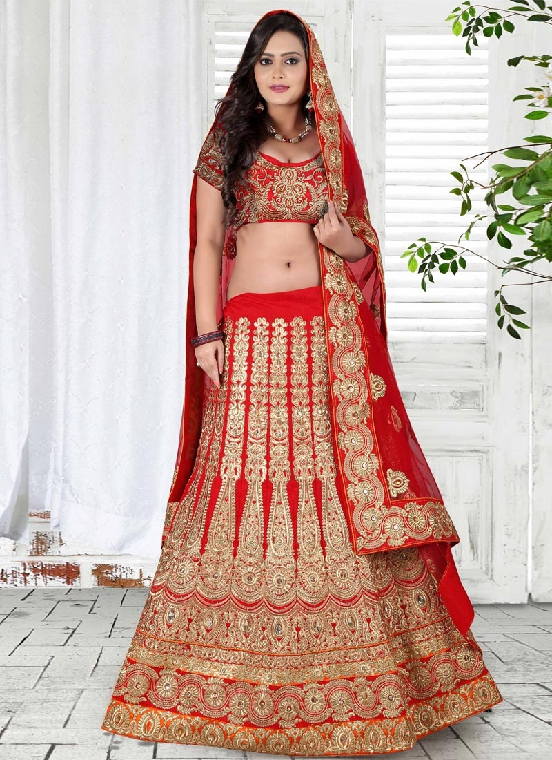 Vehemently Embroidery And Booti Work Wedding Lehenga Choli