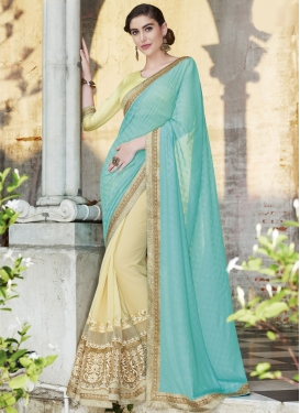 Vehemently Embroidery Work Net Half N Half Designer Saree