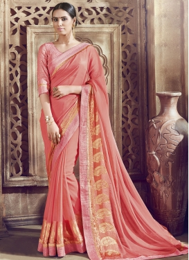 Vehemently Faux Chiffon Lace Work Party Wear Saree