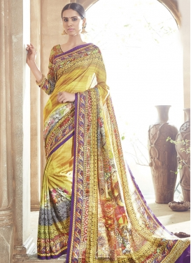 Vehemently Gold Color Digital Print Work Party Wear Saree