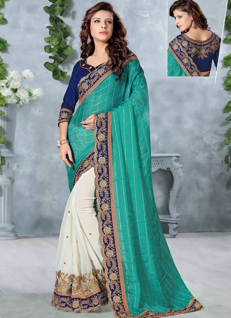 Vehemently Lace Work Half N Half Designer Saree