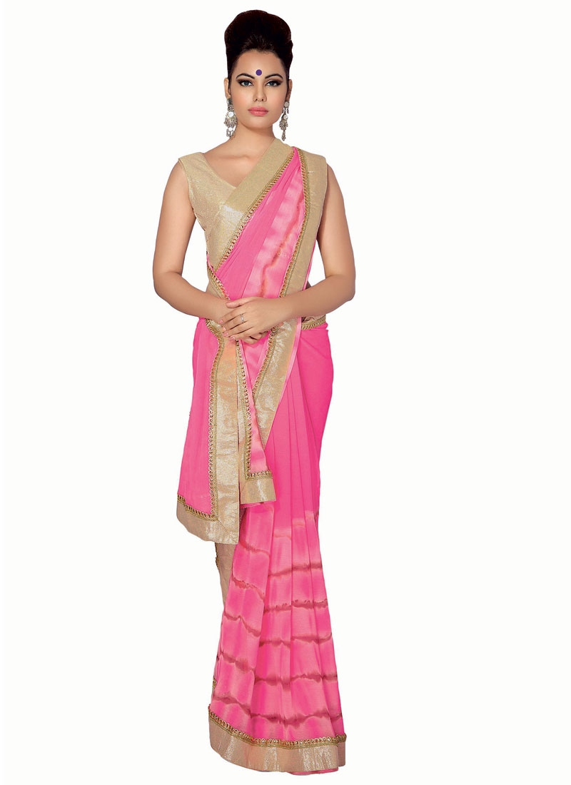 Vehemently Lace Work Hot Pink Color Party Wear Saree