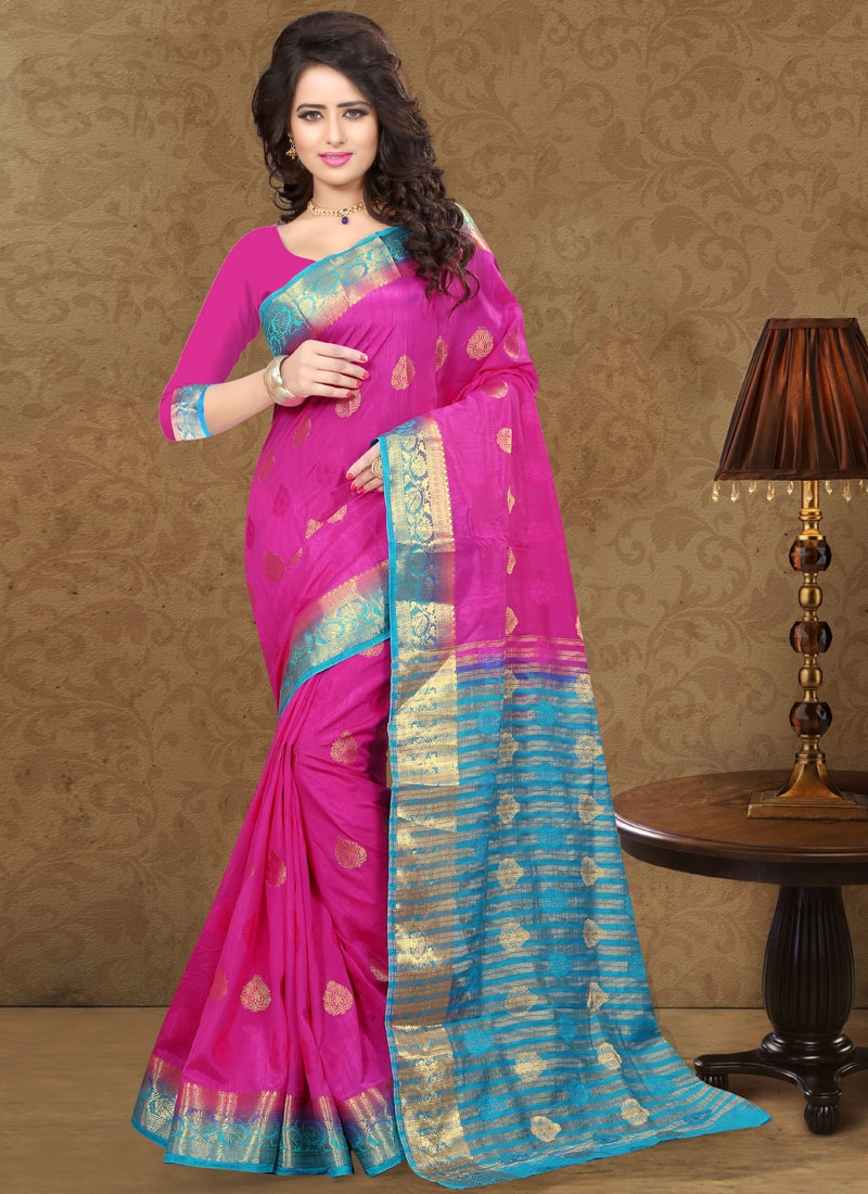 Vehemently Magenta And Light Blue Color Party Wear Saree