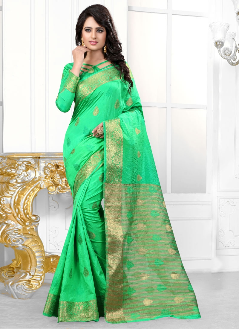 Vehemently Mint Green Color Party Wear Saree