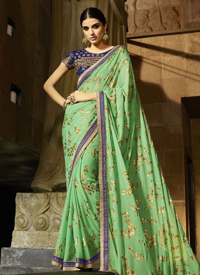 Vehemently Mint Green Color Pure Chiffon Party Wear Saree