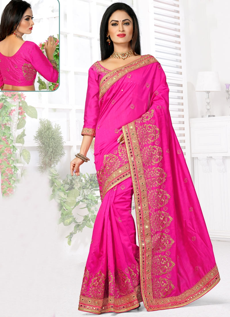 Vehemently Mirror Work Bhagalpuri Silk Wedding Saree