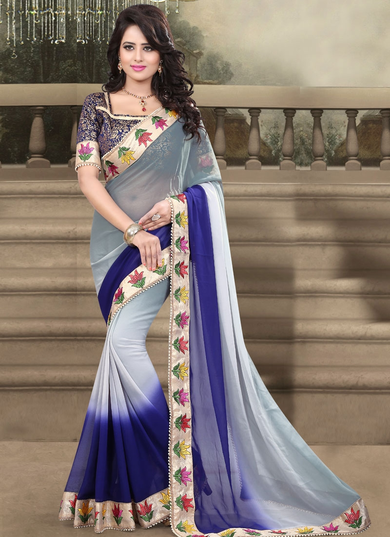 Vehemently Navy Blue And Grey Color Party Wear Saree