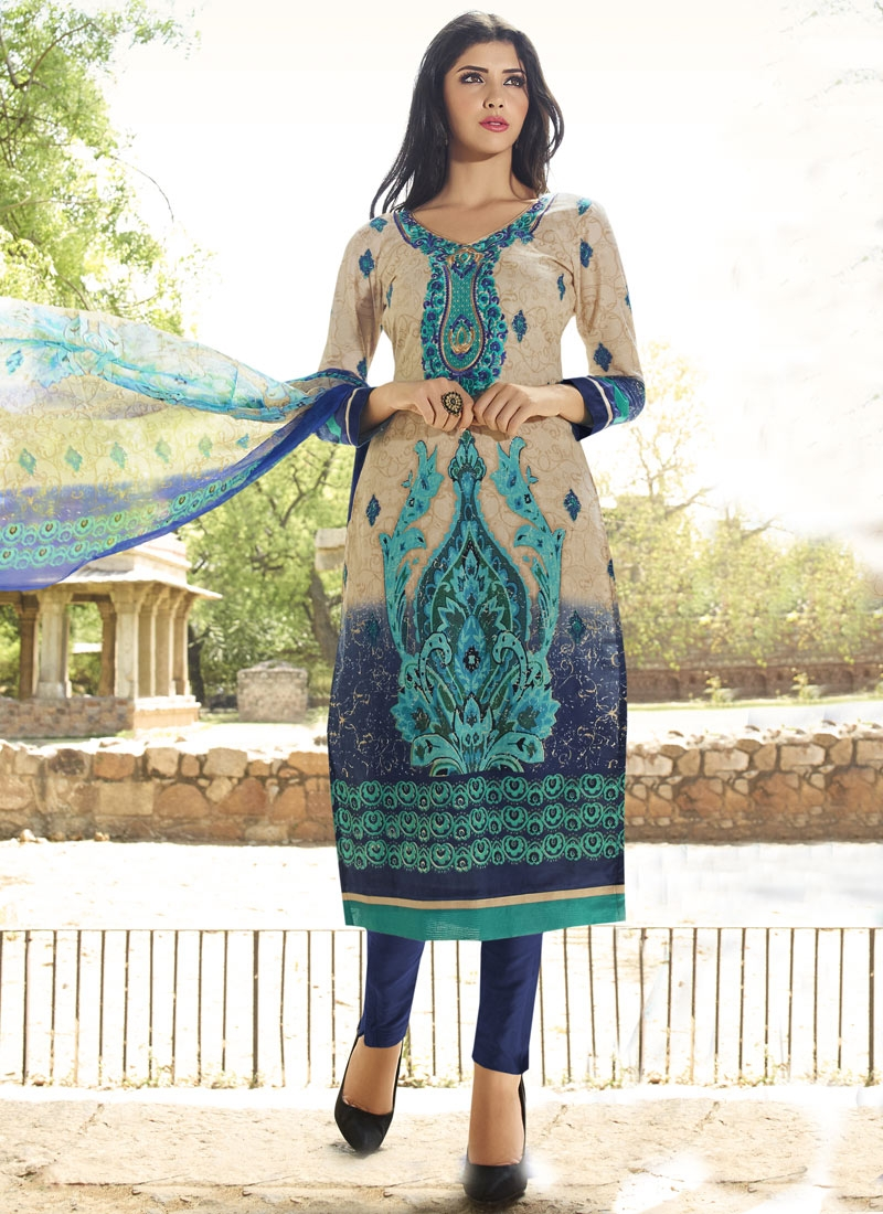 Vehemently Navy Blue Color Cotton Pant Style Party Wear Salwar Suit