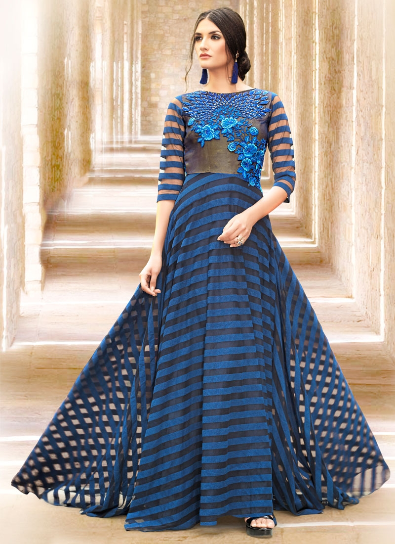 Vehemently Net And Satin Designer Readymade Gown