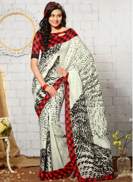Vehemently Off White Color Art Silk Casual Saree