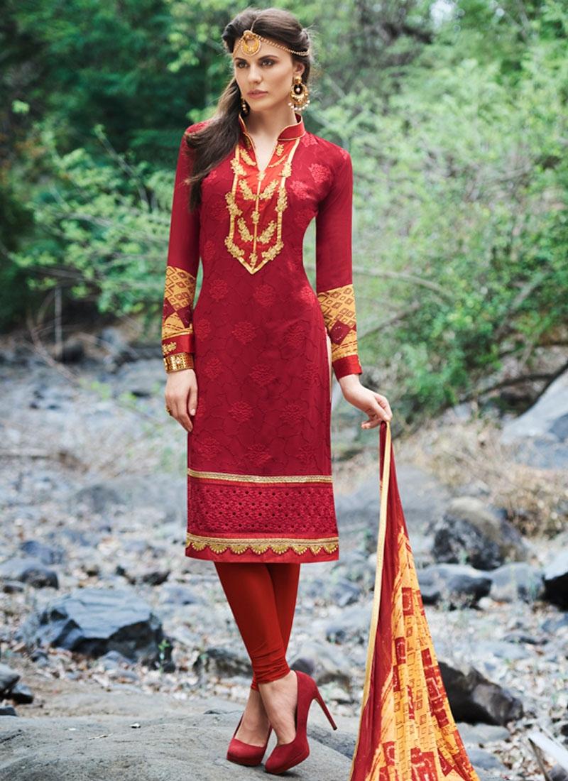 Vehemently Patch Border And Resham Work Churidar Suit