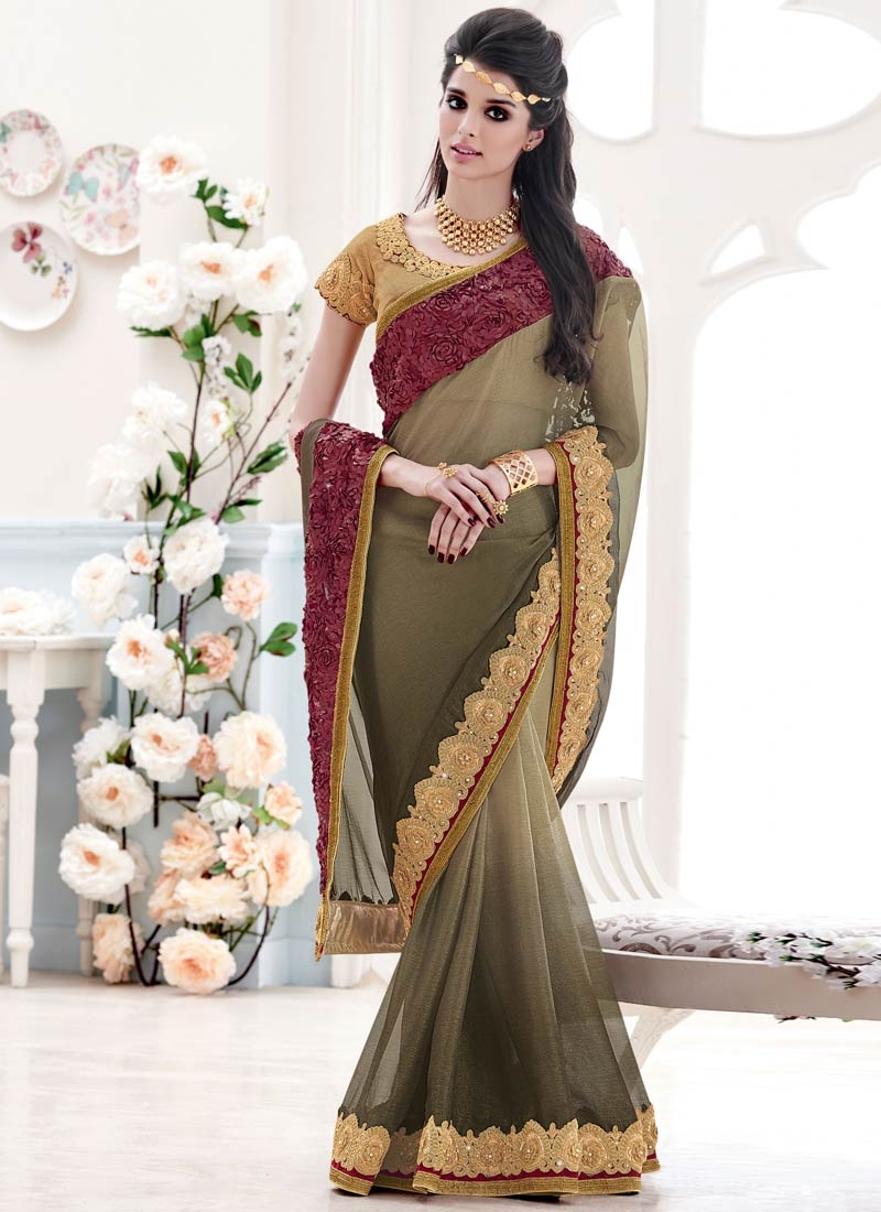 Vehemently Patch Border Work Chiffon Designer Saree