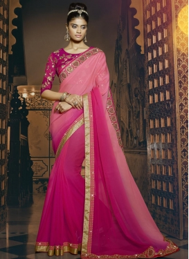 Vehemently  Pink and Rose Pink Contemporary Style Saree For Ceremonial