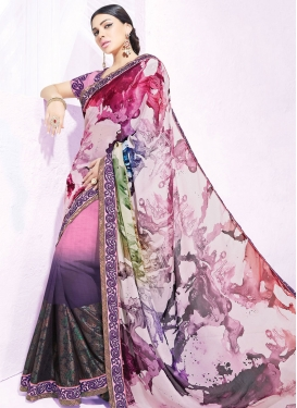 Vehemently Pink Color Georgette Half N Half Party Wear Saree