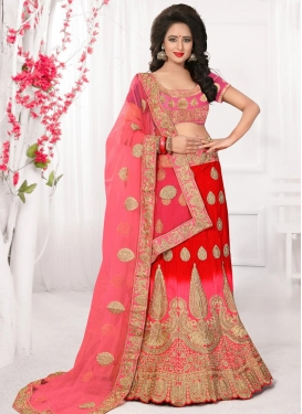 Vehemently Red and Rose Pink Trendy A Line Lehenga Choli For Bridal