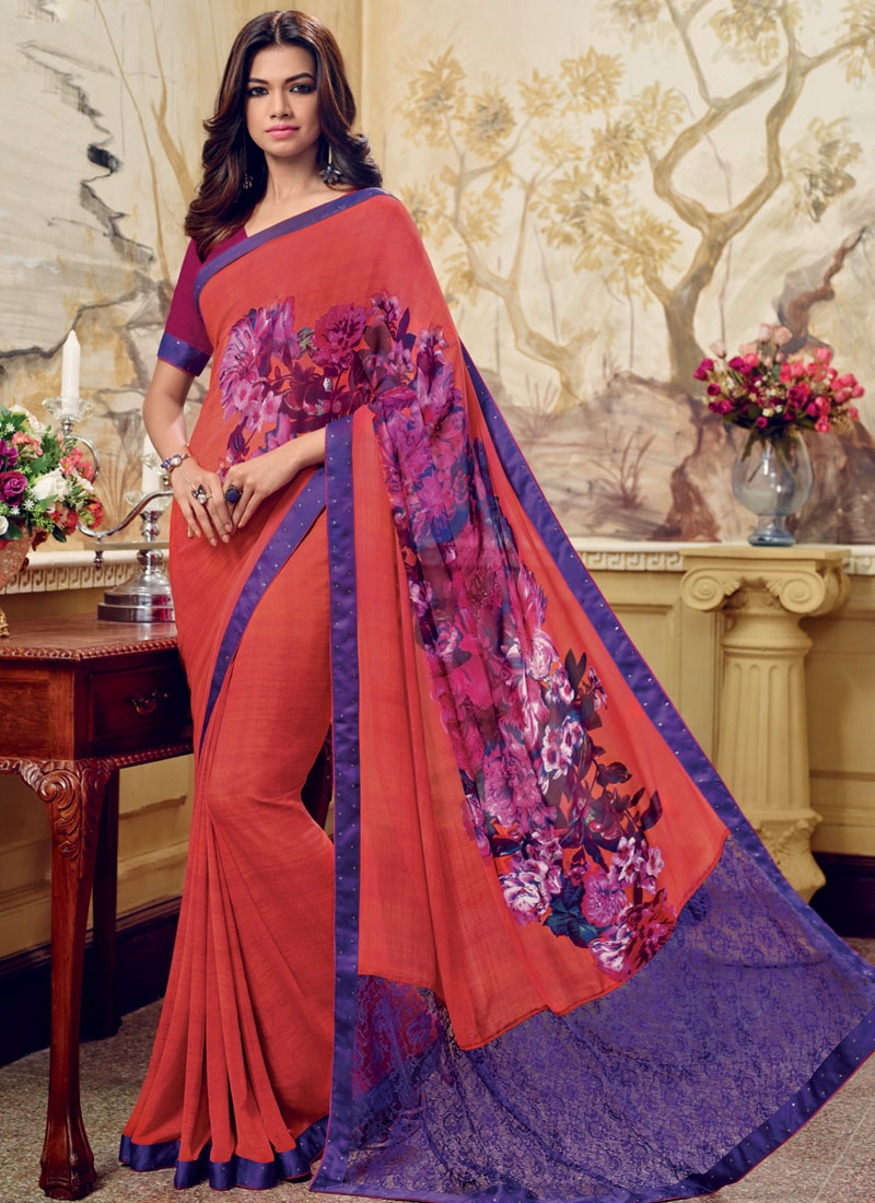 Vehemently Red Color Digital Print Work Casual Saree
