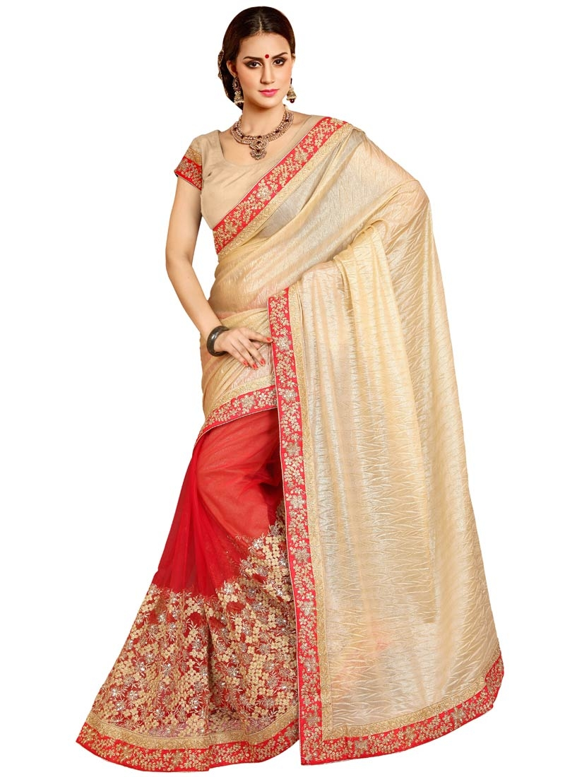 Vehemently Red Color Net Half N Half Designer Saree