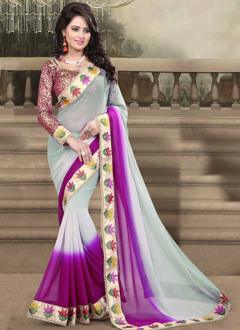 Vehemently Resham And Beads Work Party Wear Saree