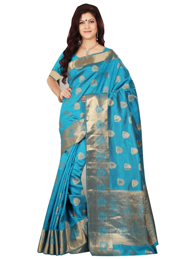 Vehemently Resham Work Light Blue Color Casual Saree