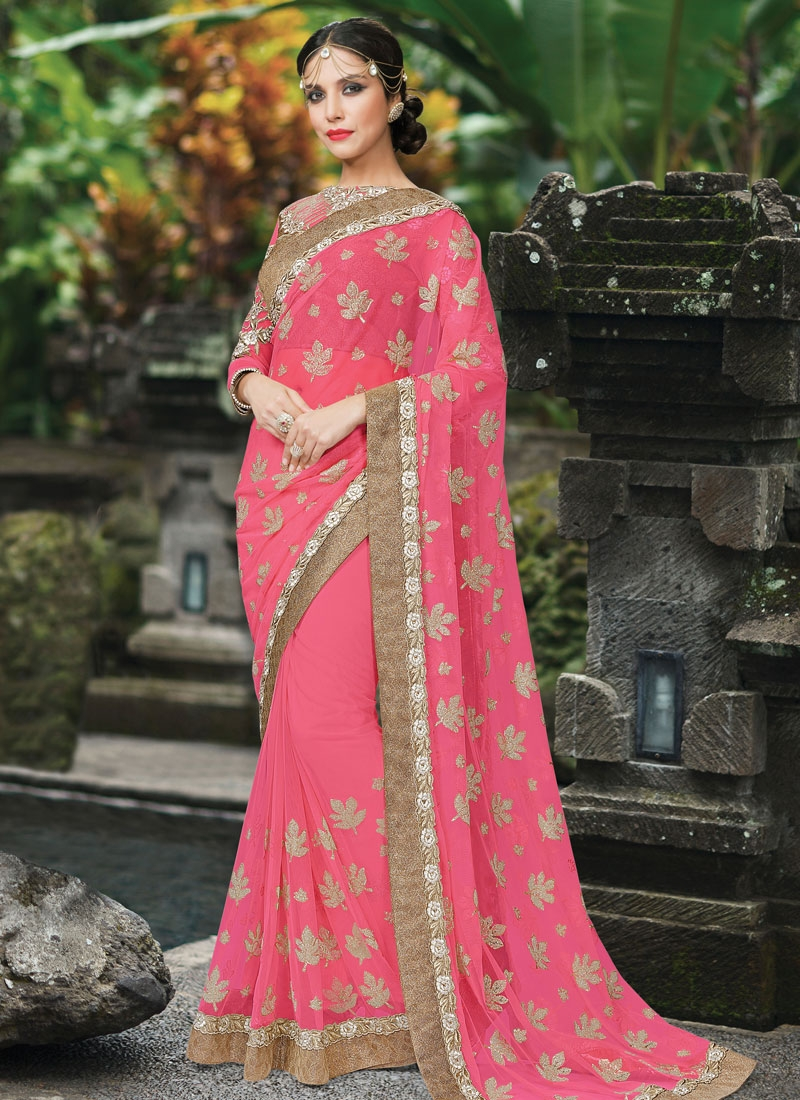 Vehemently Resham Work Net Designer Saree
