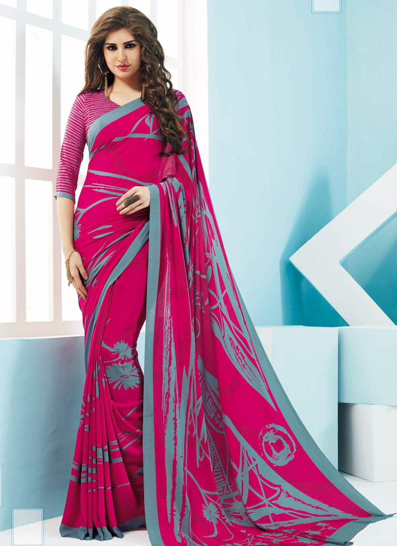 Vehemently Rose Pink Color Crepe Silk Casual Saree