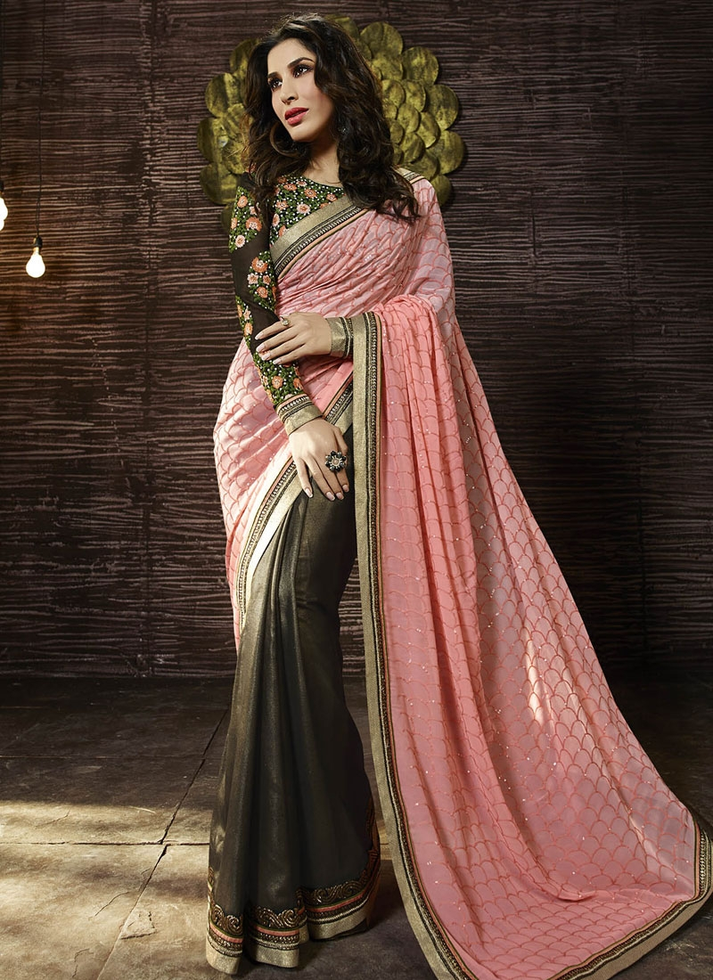 Vehemently Sequins Work Half N Half Designer Saree