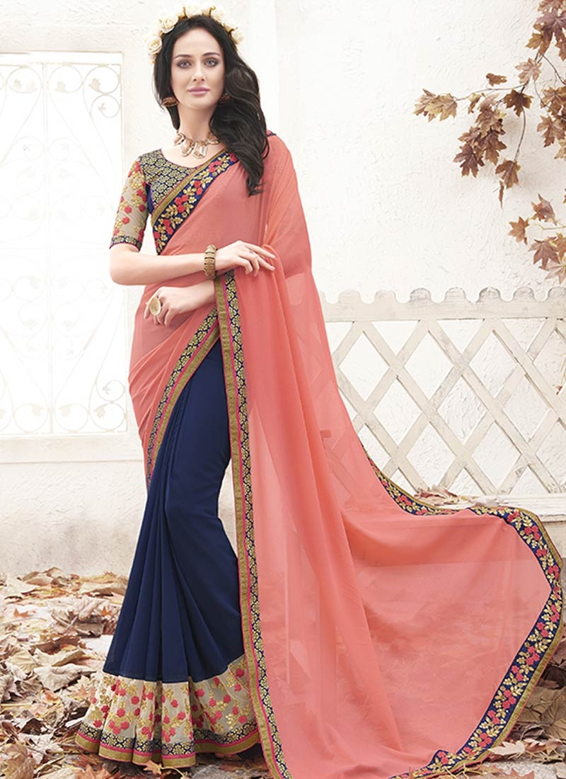 Vehemently Sequins Work Half N Half Party Wear Saree