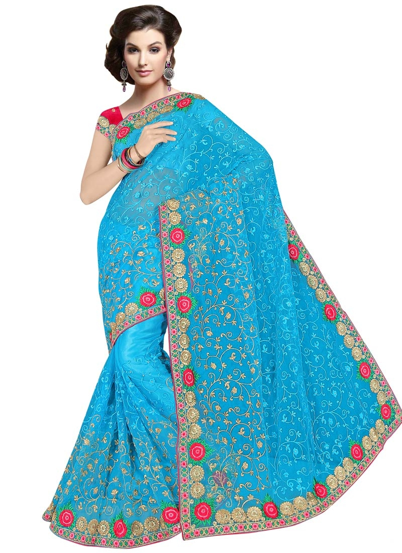 Vehemently Stone And Floral Work Designer Saree
