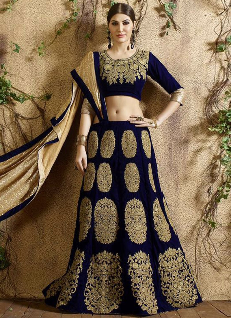 Vehemently Velvet Booti Work Bridal Lehenga Choli