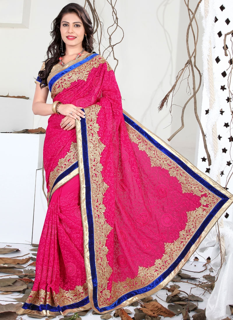 Vehemently Velvet Patch And Stone Work Wedding Saree
