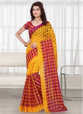 Vehemently Yellow And Violet Color Casual Saree