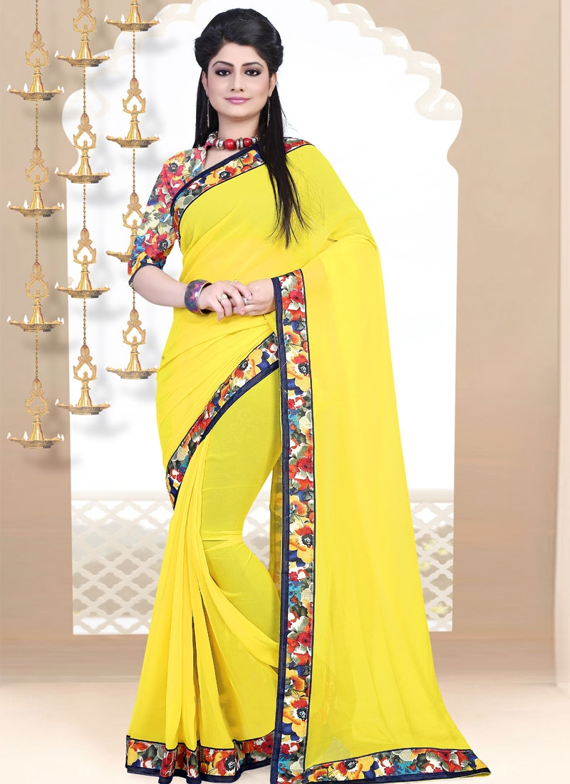 Vehemently Yellow Color Party Wear Saree