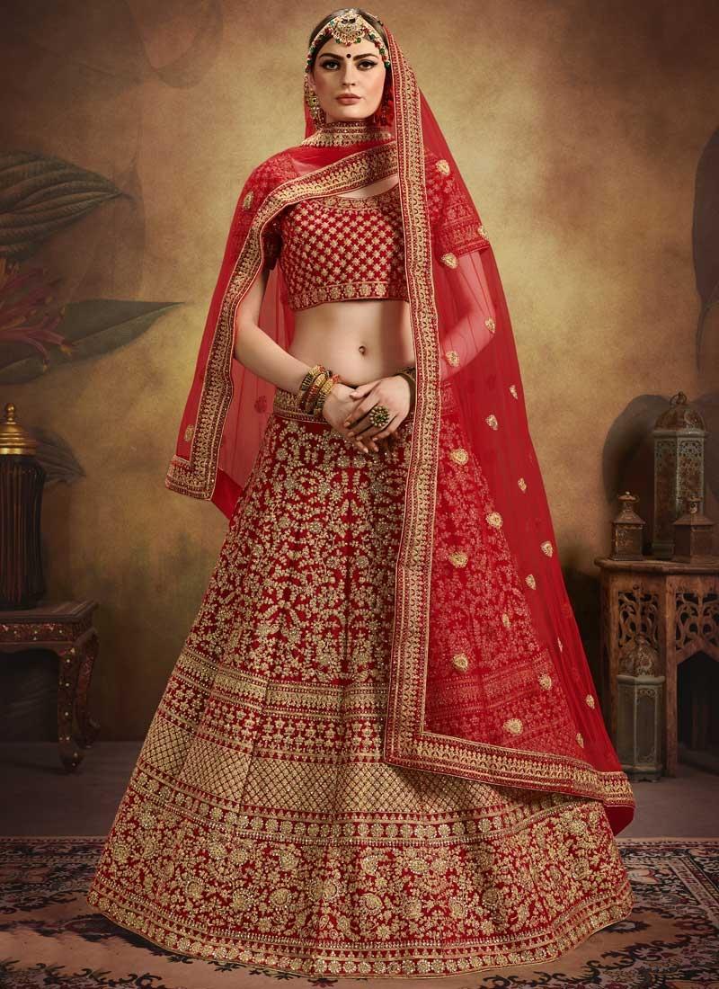 Velvet A Line Lehenga Choli For Bridal